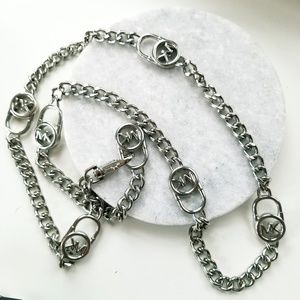 Michael Kors Silver MK Locket Chain Necklace